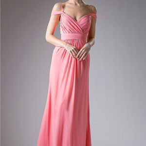 Coral A-Line Prom Long Dress
